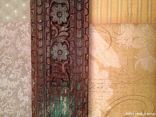 Carved Door Wood from India and Scrapbook Papers