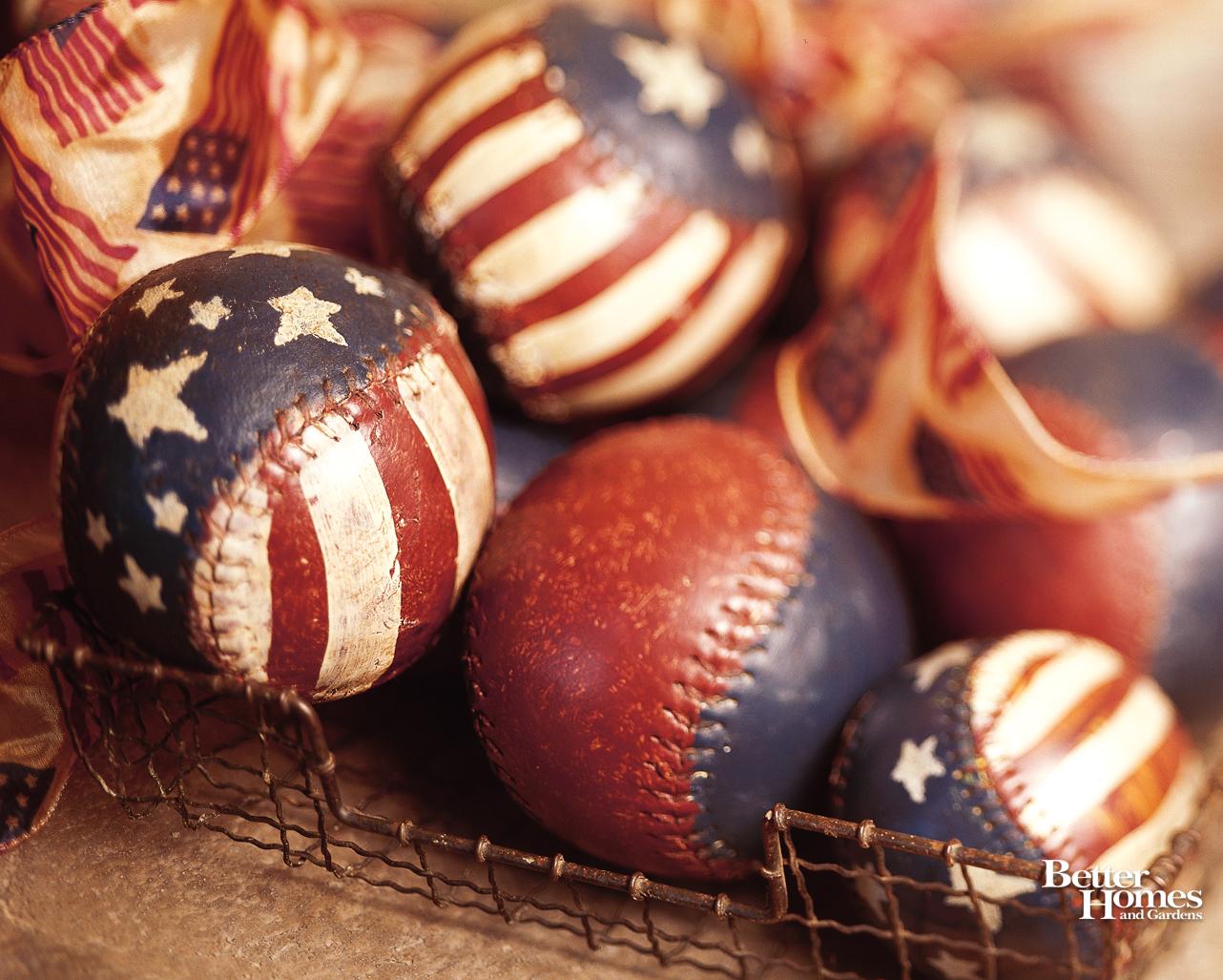 American Flag Baseballs via BHG