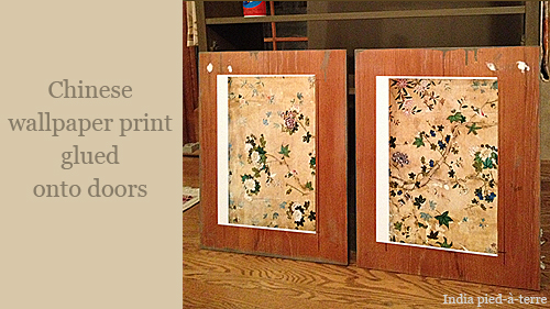 Chinese Wallpaper Print Glued on Cabinet Doors