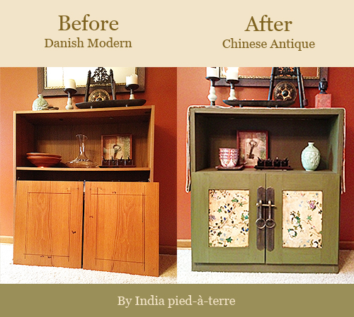 diy cabinet makeover from danish modern to antique chinese