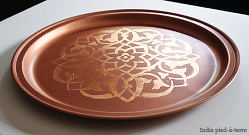 DIY Copper Moroccan Tray with Copper Leaf Stencil : pied a terre dinnerware - pezcame.com
