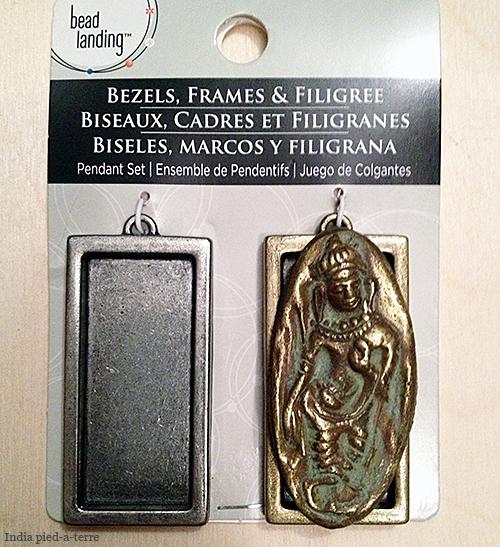 India Goddess Amulet on Bezel Frame