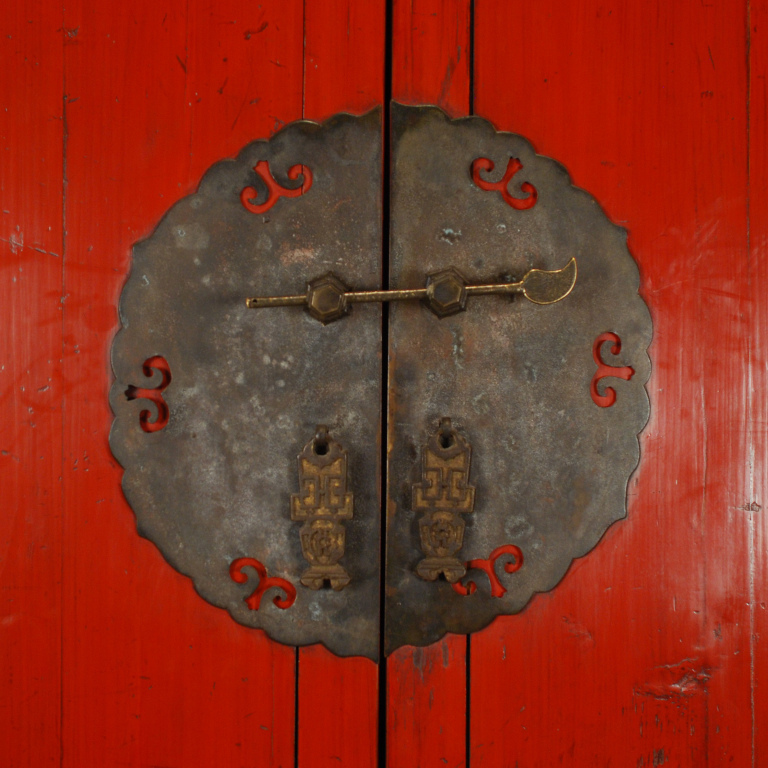 Genial Hardware On Red Chinese Cabinet Via 1st Dibs