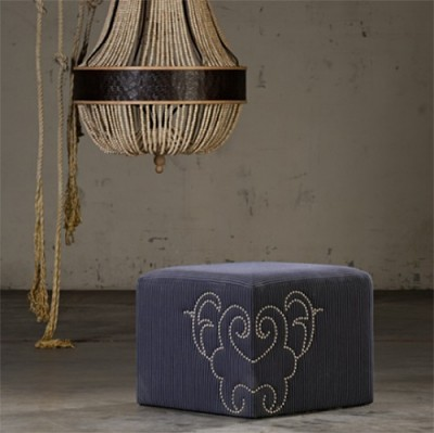 Nail Head Ottoman by Shine by S.H.O