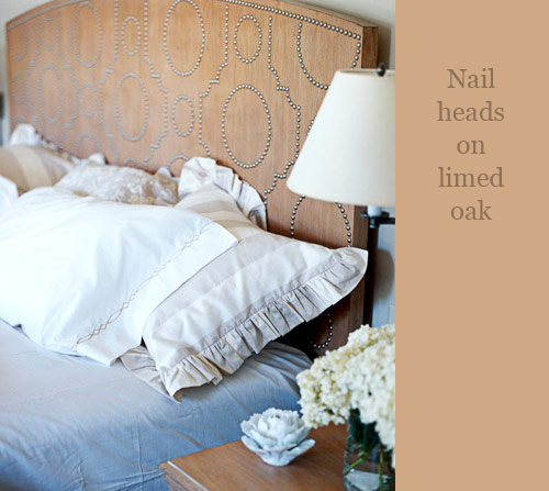 Nail Heads on Wood Headboard via House Beautiful