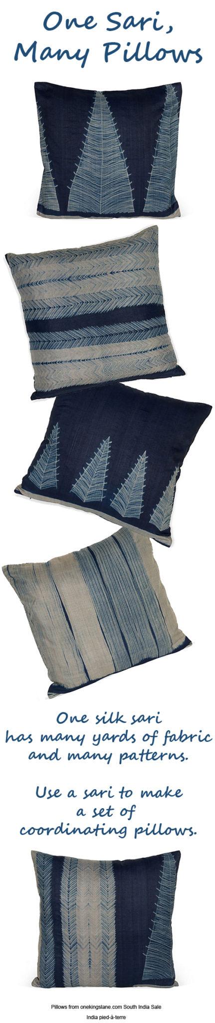 One Silk Sari - Many Coordinating Pillows