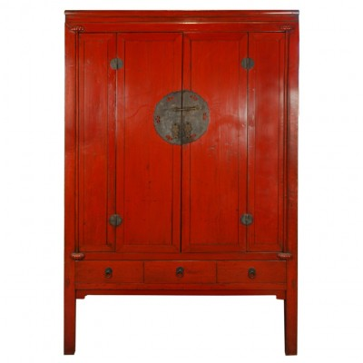 Red Lacquer Chinese Cabinet via 1st dibs