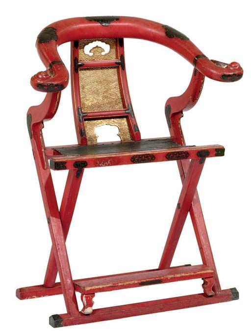 Red Lacquered Chinese Chair via Christies