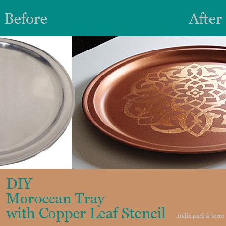 DIY Moroccan Stenciled Tray Before and After