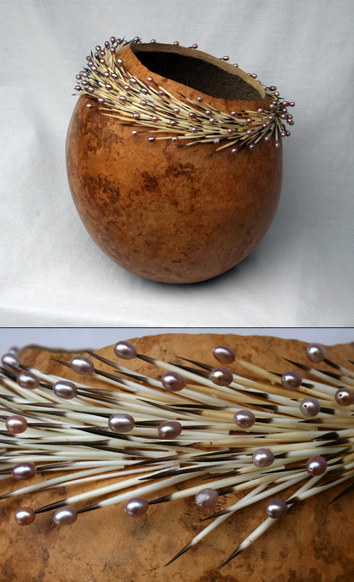 Gourd Art with Porcupine Quills and Pearls by Ron King