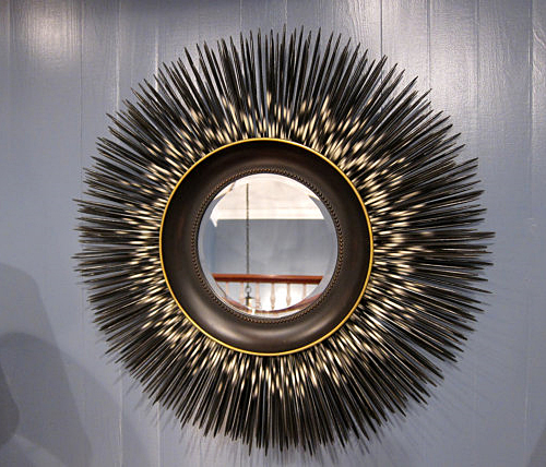 Hand Painted Wood Porcupine Quills Mirror by Applewood Furniture + Design