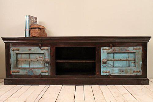 India Style TV Cabinet with Blue Jodhpur Doors from Hammer and Hand