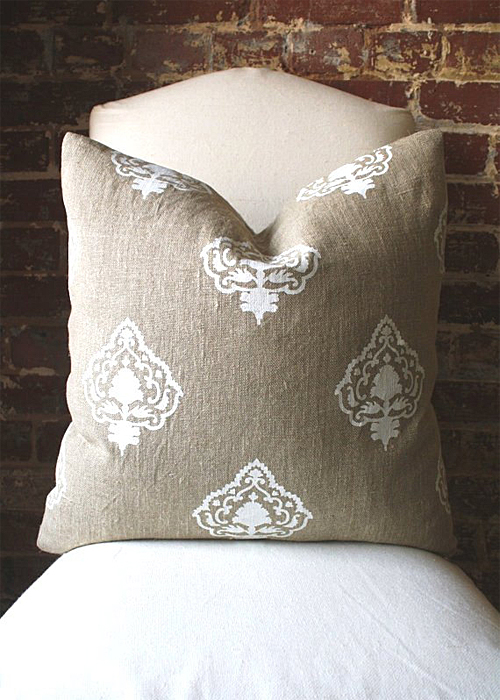 Linen Pillow Hand Printed in India from Martha and Ash