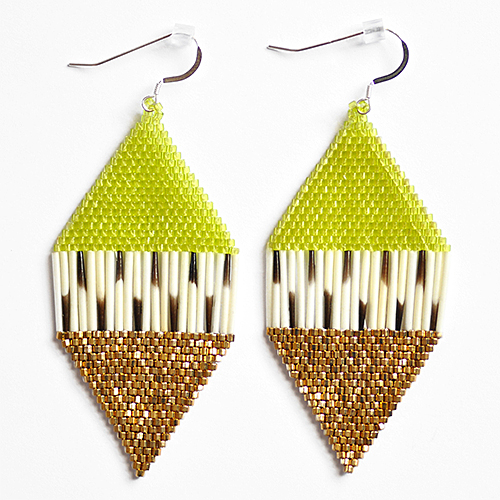 Porcupine Quill and Bead Earrings by Artist Caroline Blechert