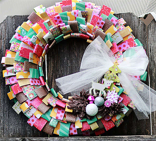 Scrapbook Paper Wreath DIY by Michelle L