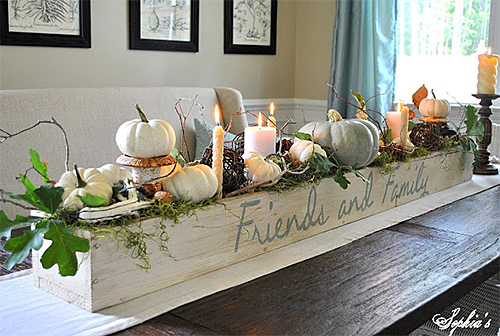White Pumpkin and Candle Centerpiece by Sophia's