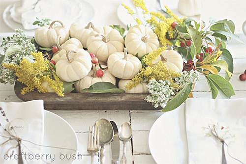 White Pumpkin Centrepiece via Craftberry Bush
