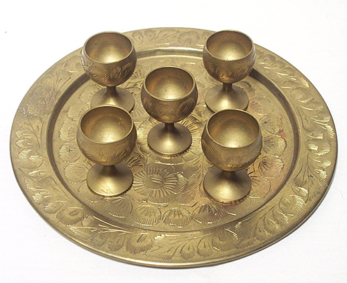 Etched Brass Tray and Goblets from eBay seller ragnboneresale