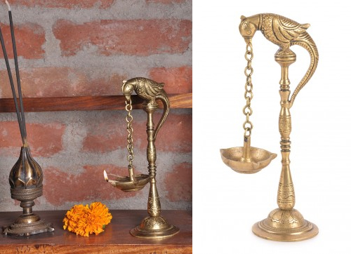 Parrot Brass Lamp from Jaypore