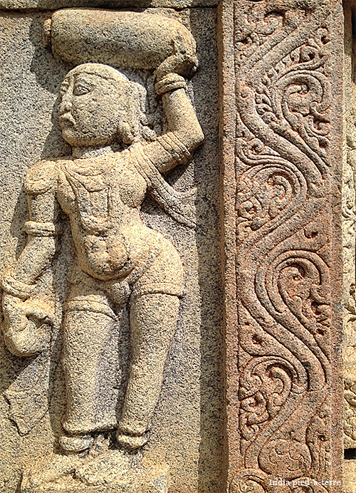 Stone carvings in a temple of the nandi hills nomadic