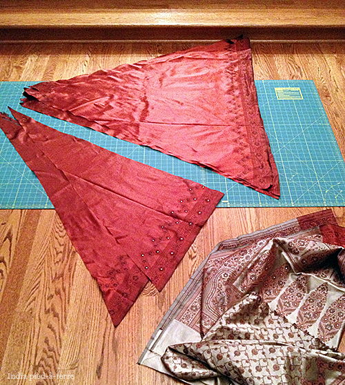 Parts of a Sari Christmas Tree Skirt
