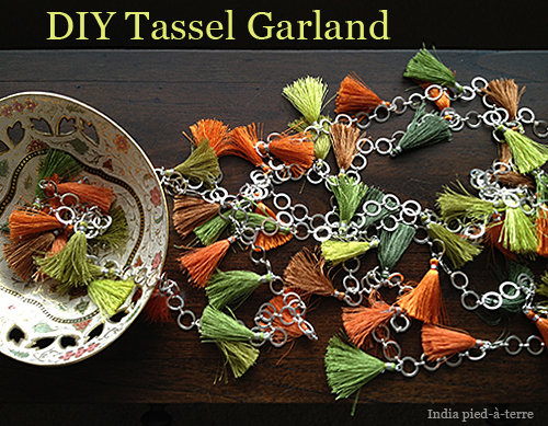 DIY Garland with Silk Tassels and Silver Chain