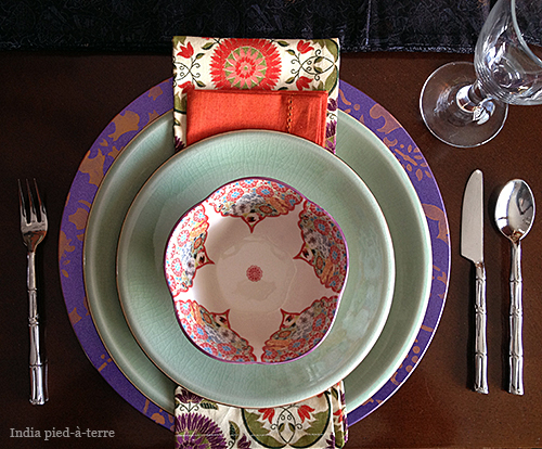 Table Setting with Stenciled Plate Charger