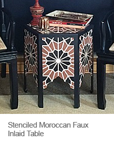 Stenciled Moroccan Inlaid Table