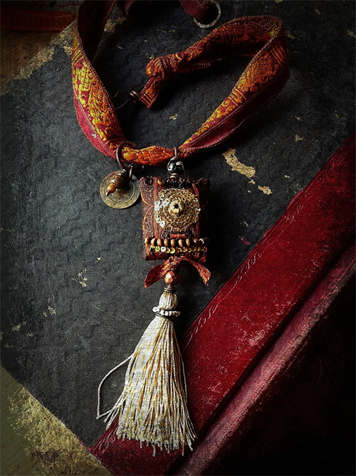 Textile Silk and Charm Necklace from quisnam shop on etsy