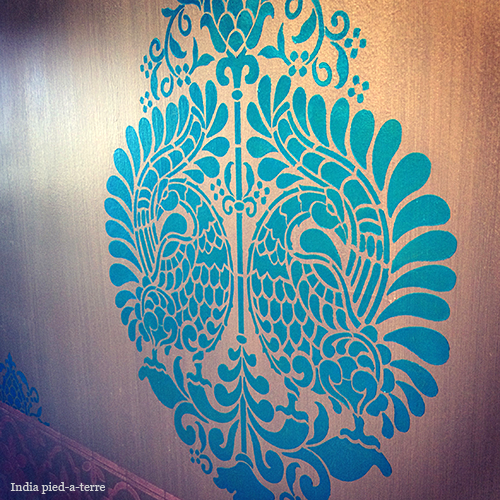Annapakshi South Indian Motif Damask Stencil