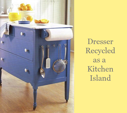 Dresser Repurposed as Kitchen Island via Apartment Therapy