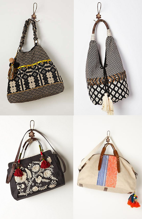 Anthropologie Tote Bags with Tassels