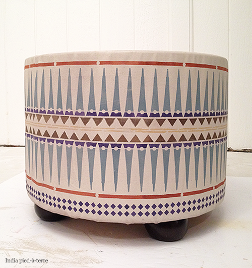 Tribal Pattern Painted Ottoman