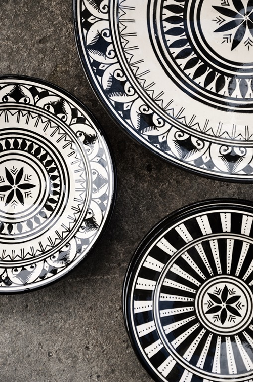 Black and White Moroccan Plates