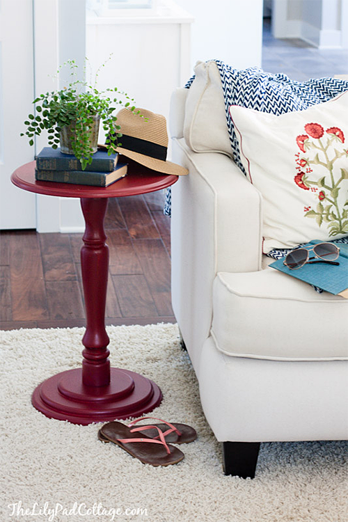Red Side Table at The Lily Pad Cottage