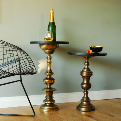 Side Tables made from vintage brass lamp bases via Ladies and Gentlemen