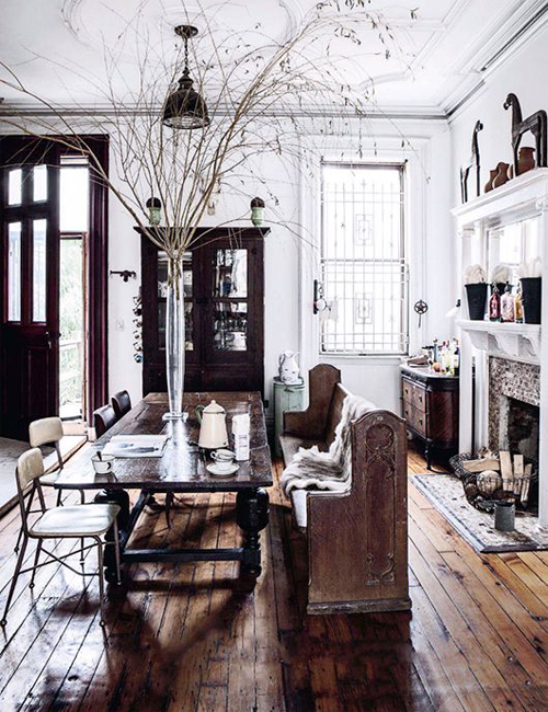 Church Pews in Homes via ELLE Decoration