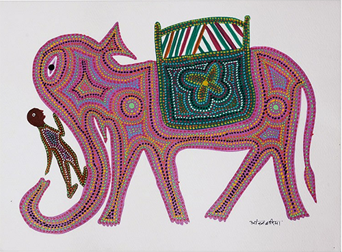 Elephant Bhil Painting By Anil Bariya