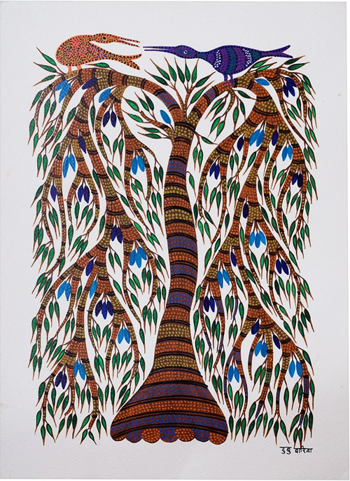 Tree-Bird Bhil Painting By Dubbu Bariya