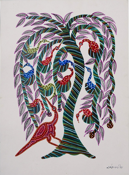 Tree-Bird Bhil Painting By Dubbu Bariya from Jaypore