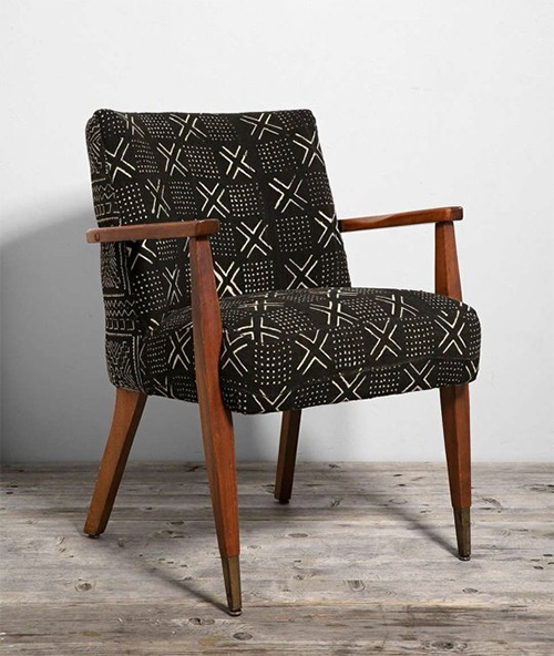 HYM Salvage and Urban Outfitters Mud Cloth and Mid Century Modern Chair