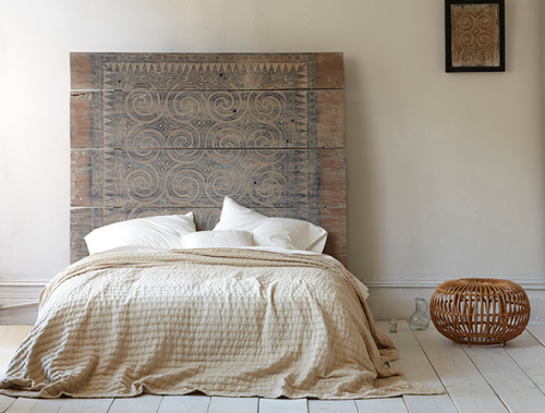 Patterned Wood Headboard via Christina Watkinson