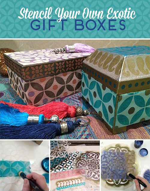 Stenciled Moroccan Leather Gift Boxes