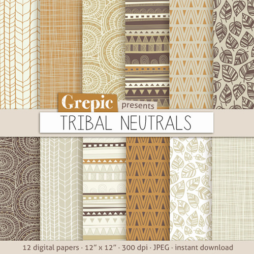 Tribal Scrapbook Paper from Grepic Etsy Shop