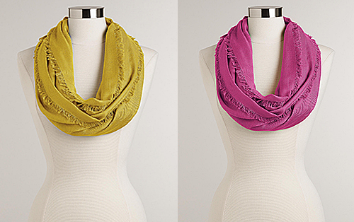 Apple and Orchid Infinity Scarves from World Market