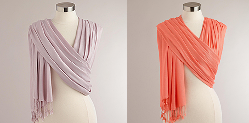Lilac and Coral Shawls