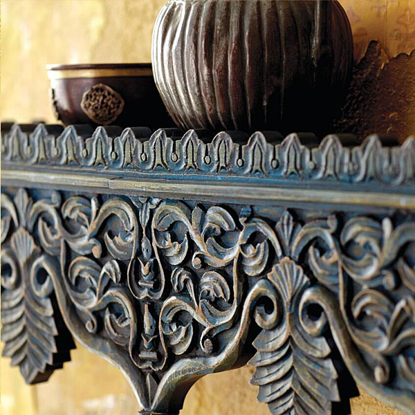 Rajasthani Indian Carved Wood Shelf via World Market