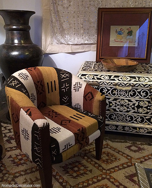 Mud Cloth Covered Chair at Mustapha Blaoui Store