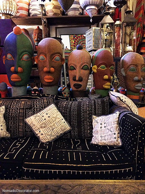 Mud Cloth and Beaded Heads in Mustapha Blaoui Shop in Marrakech