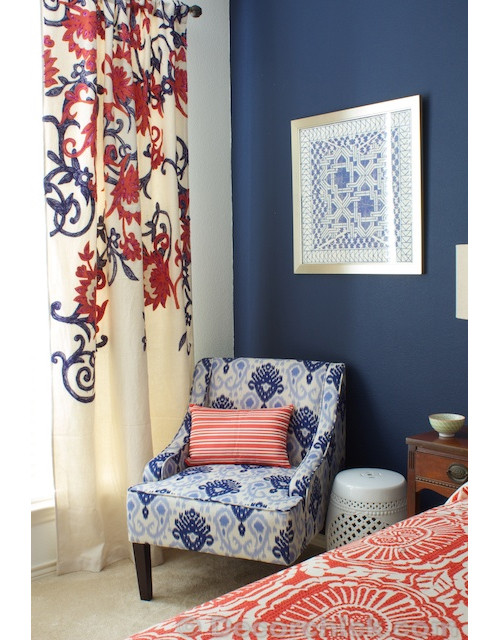 DecorChick Navy and Coral Bedroom. Color  Coral   Indigo   Nomadic Decorator